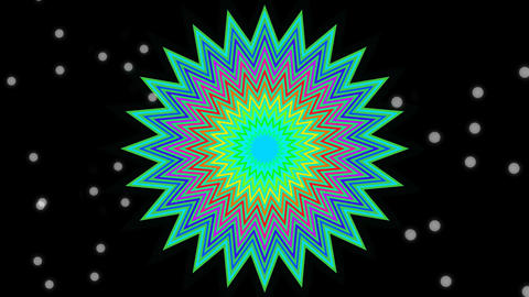 Multicolored star shape in tunnel motion on black background with small white Animation