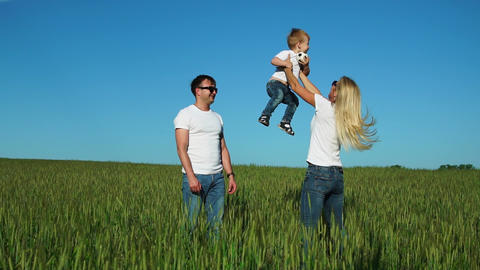 Happy family in the field on a Sunny day in the Park having fun and spending Footage
