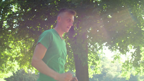 Male runner jogging living healthy active lifestyle Footage