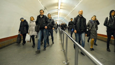 Kiev subway, the big transition to Khreschatyk station. Accelerated filming Footage