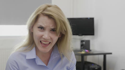 Blonde business woman doing and saying damn reaction expression Footage