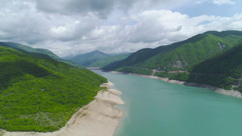 Aerial Dolly Shot of Mountains and Lake Footage