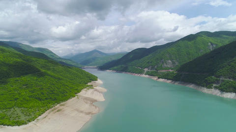 Aerial Dolly Shot of Mountains and Lake Stock Video Footage