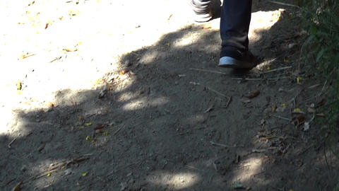 Traveler legs moving rapidly on the path range from the forest 47 Footage