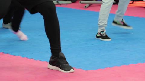Breakdance dancers legs in the gym 04 Footage