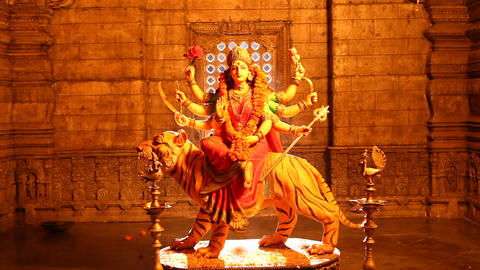 Durga Statue in the Temple Footage