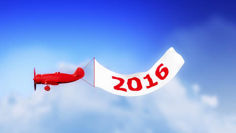 Plane 2016 in Clouds (Loop) Animation