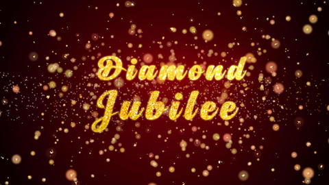 Diamond Jubilee Greeting card text shiny particles for celebration,festival Animation