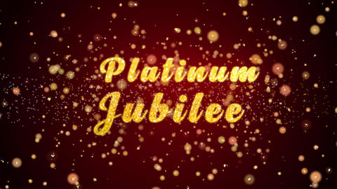 Platinum Jubilee Greeting card text shiny particles for celebration,festival Animation