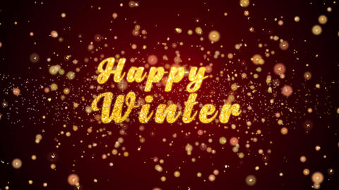 Happy Winter Greeting card text shining particles for Animation