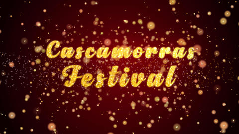 Cascamorras Festival Greeting card text shiny particles for celebration,festival Animation