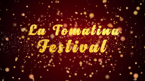La Tomatina Festival Greeting card text shiny particles for celebration,festival Animation