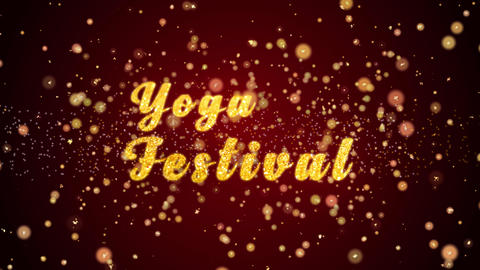 Yoga Festival Greeting card text shiny particles for celebration,festival Animation
