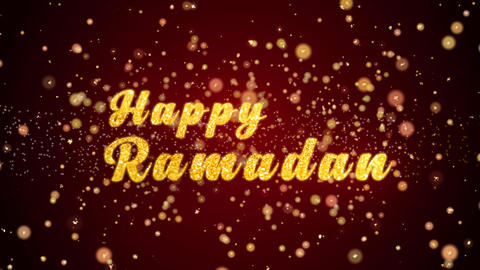 Happy Ramadan Greeting card text shiny particles for celebration,festival Animation