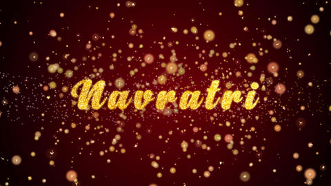Navratri Festival Greeting card text shiny particles for celebration,festival Animation