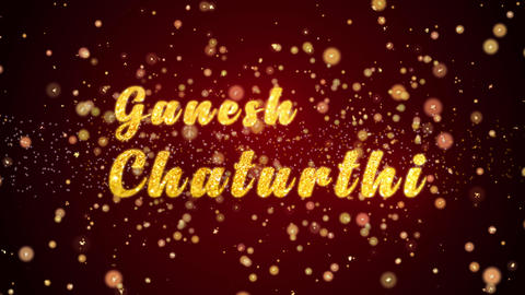 Ganesh chaturthi Greeting card text shiny particles for celebration,festival Animation