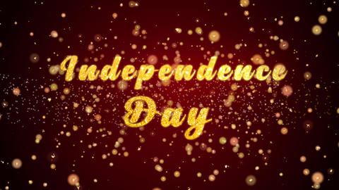 Independence Day card text shiny particles for celebration,festival Animation