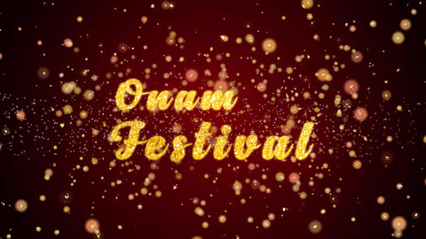 Onam Festival Greeting card text shiny particles for celebration,festival Animation