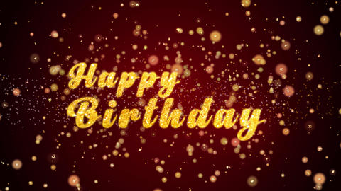 Happy Birthday Greeting card text shiny particles for celebration,festival Animation