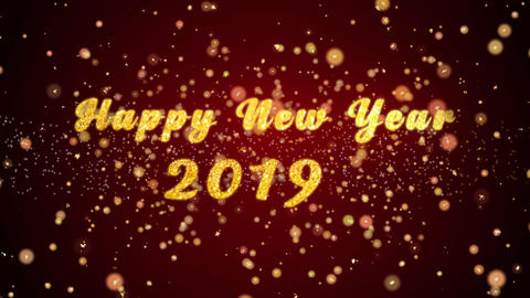 Happy New Year 2019 Greeting card text shiny particles for celebration,festival Animation