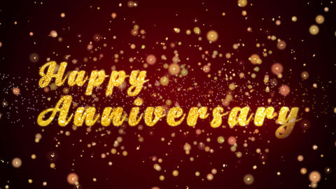 Happy Anniversary Greeting card text shiny particles for celebration,festival Animation