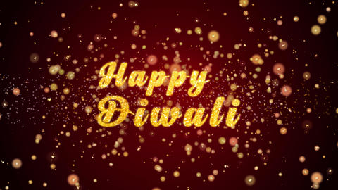 Happy Diwali Greeting card text shiny particles for celebration,festival Animation