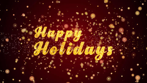 Happy Holidays Greeting card text shiny particles for celebration,festival Animation