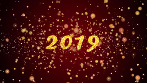 2019 Greeting card text shiny particles for celebration,festival Animation