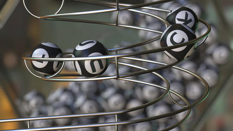 Lottery balls make up LUCK word. 3D animation Live Action