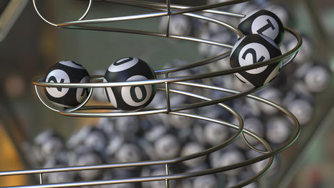Lottery balls make up 2021 number. 3D animation Live Action