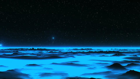 UFO over the Alien Blue Planet Animation