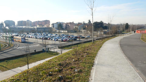 Interchange parking beside Parco Nord in the north of Milan Live影片