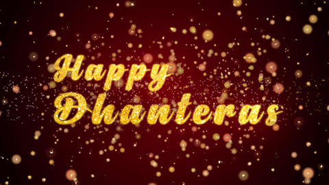 Happy Dhanteras Greeting card text shiny particles for celebration,festival Animation