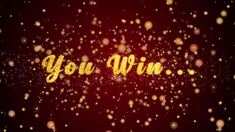 You Win Greeting card text shiny particles for celebration,festival Animation