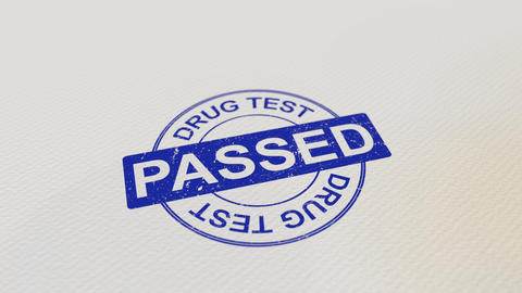 DRUG TEST PASSED wooden stamp 영상물