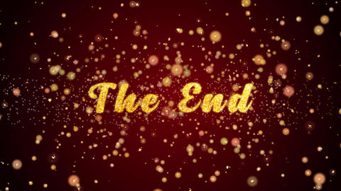 The End Greeting card text shiny particles for celebration,festival Animation
