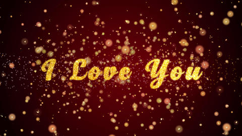 I Love You Greeting card text shiny particles for celebration,festival Animation