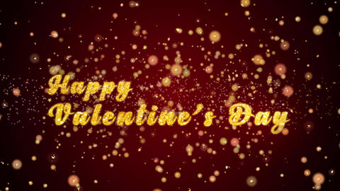Happy Valentine's Day Greeting card text shiny particles for Animation