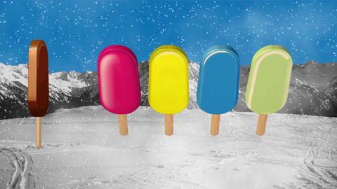 Ice cream popsicle sweets candy Footage