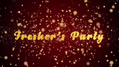 Fresher's Party Greeting card text shiny particles for celebration,festival Animation