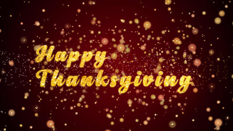 Happy Thankgiving Greeting card text shiny particles for celebration,festival Animation