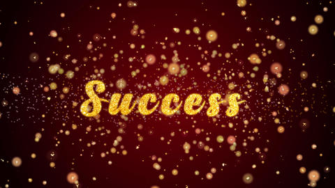 Success Greeting card text shiny particles for celebration,festival Animation