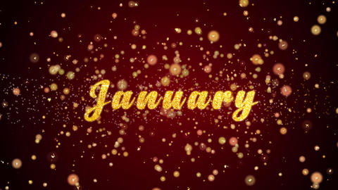 January Greeting card text shiny particles for celebration,festival Animation