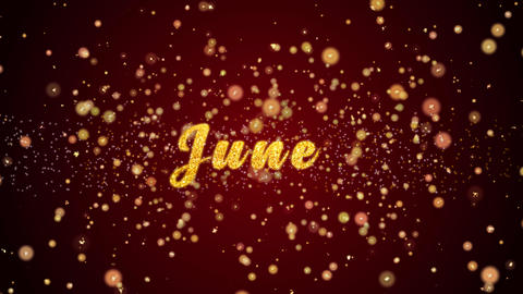 June Greeting card text shiny particles for celebration,festival Animation