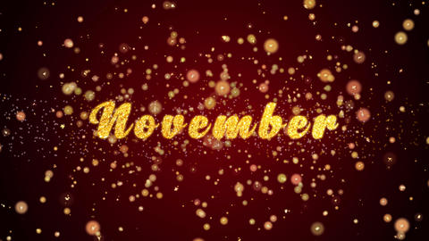 November Greeting card text shiny particles for celebration,festival Animation