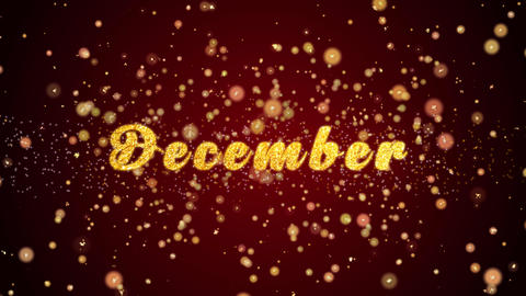 December Greeting card text shiny particles for celebration,festival Animation