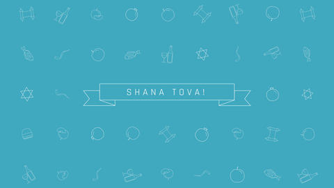 Rosh Hashanah holiday flat design animation background with traditional outline Animation