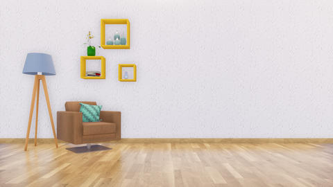 Minimalist interior with armchair and copy space white wall Footage