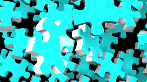 Pale Blue Jigsaw Puzzle On Black Background CG動画