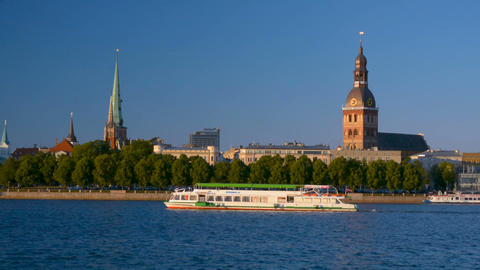 Riga Old Town copyspace panorama background with big ship boat on Daugava river Footage